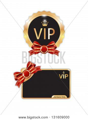 Vip badges and card in blackand gold color isolated