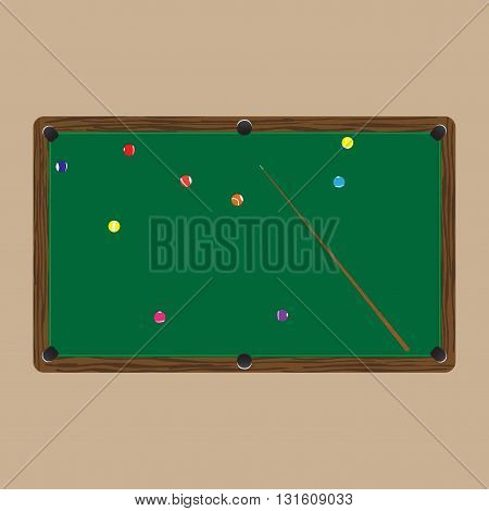 pool table with colorful balls on a light background