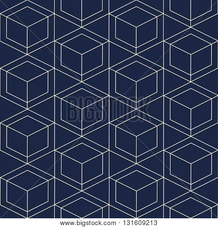 Seamless geometric pattern. Vector seamless pattern. Geometric background with rhombus and nodes. Geometric design.