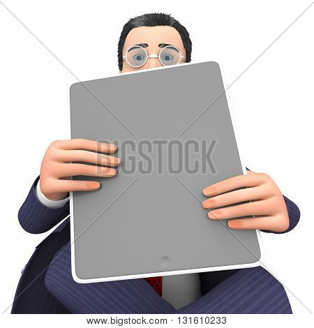 Character Businessman Shows World Wide Web And Computing 3D Rendering
