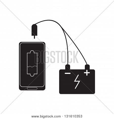 Flat icon in black and  white mobile battery charger