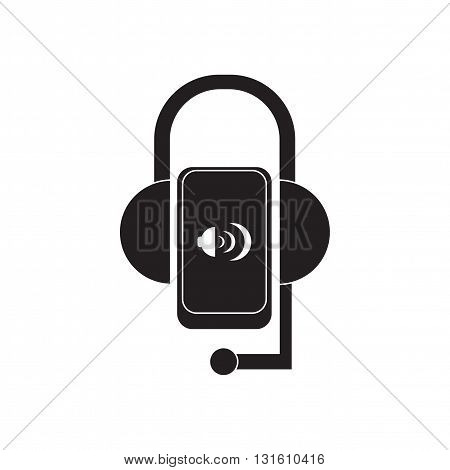 Flat icon in black and  white Mobile Phone Headset