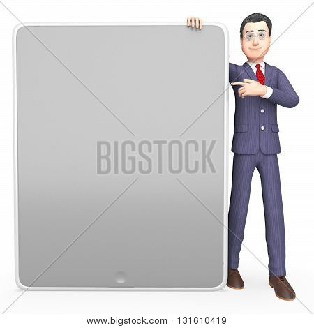 Businessman Character Means Copy Space And Board 3D Rendering