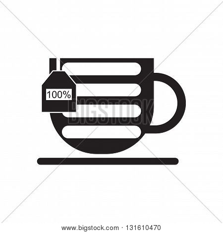 Flat icon in black and  white cup