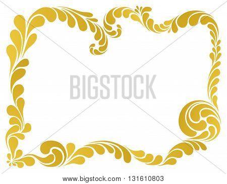 abstract floral pattern, golden frame vector illustration