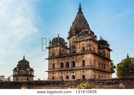 Chhatris on the bank of the Betwa River Orchha India
