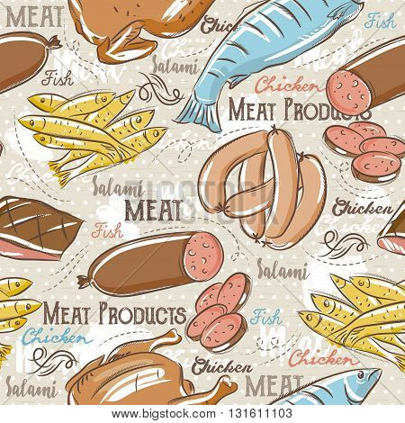 Background with chick fish salami and sausage. Ideal for printing onto fabric and paper or scrap booking. Vector illustration