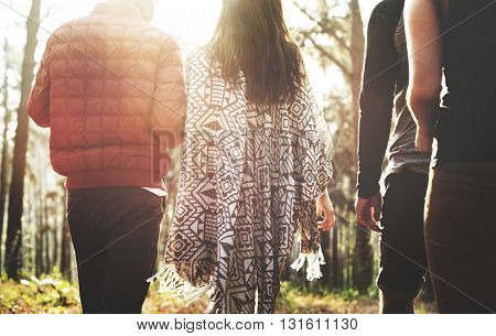 Camping Couple Trek Backpacker Walking Concept
