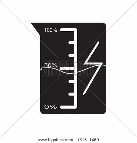 Flat icon in black and  white beaker