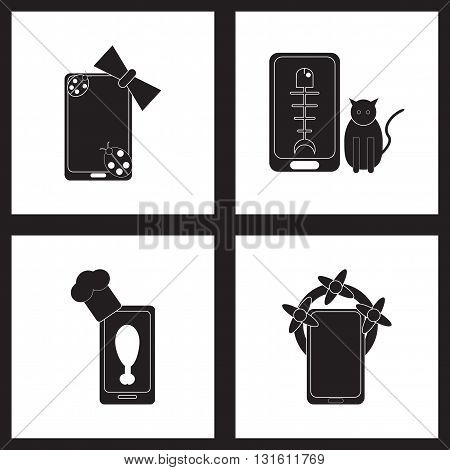 Concept flat icons in black and  white  mobile applications