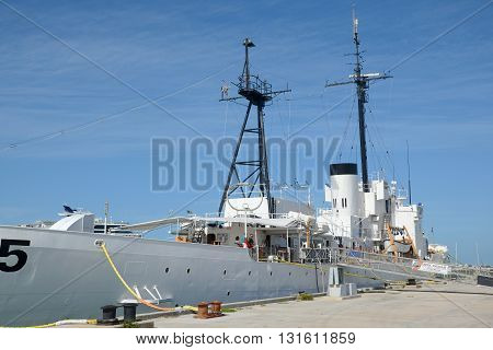 KEY WEST, FL, USA - DEC 20: USCGC Ingham (WHEC-35), a decommissioned United States Coast Guard Cutter. She is the ship museum located at Key West on December 20th, 2012 in Key West, Florida, USA.