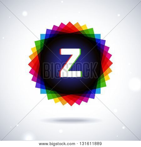 Spectrum logo icon with shadow and particles. Letter Z