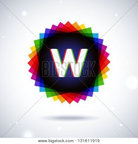 Spectrum logo icon with shadow and particles. Letter W