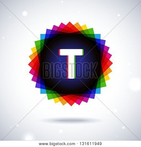Spectrum logo icon with shadow and particles. Letter T