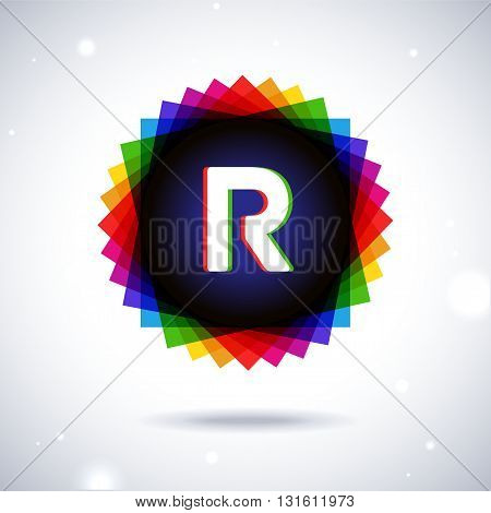 Spectrum logo icon with shadow and particles. Letter R