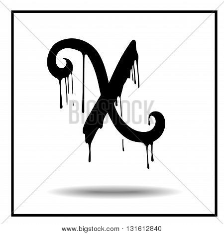 Melted grunge font. Vector illustration. Bloody letters. Melted letter X