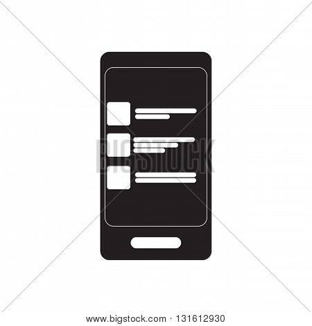 Flat icon in black and white  SMS message