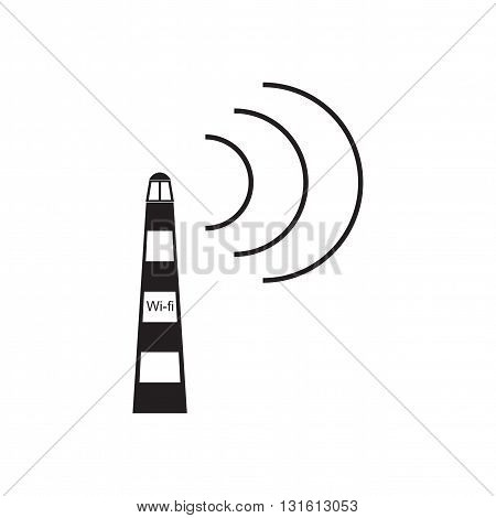 Flat icon in black and white  mobile Wi fi tower