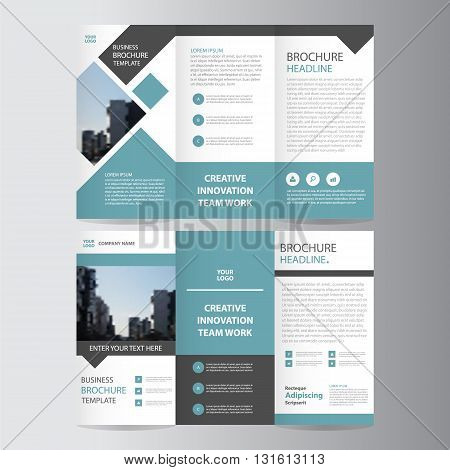 green black triangle business trifold Leaflet Brochure Flyer report template vector minimal flat design set, abstract presentation layout templates a4 size