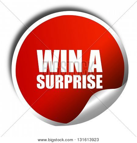 win a surprise, 3D rendering, a red shiny sticker