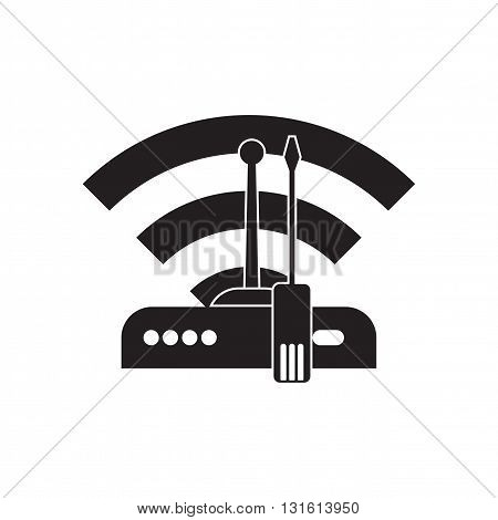 Flat icon in black and white  Wi fi modem