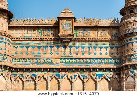 Architectural detail of Gwalior Fort, Madhya Pradesh, India