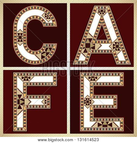 Decorative Block Typography Square Tiles CAFE Sign
