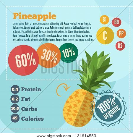 Pineapple vitamins infographics in a flat style. Vector illustration EPS 10
