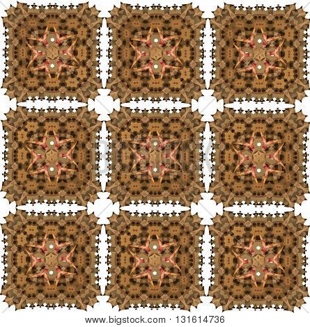 Abstract oriental seamless pattern resembling lace. Brown and pink pattern with abstract ornamental motifs