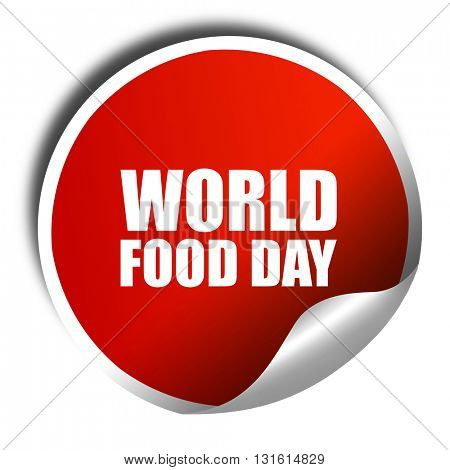 world food day, 3D rendering, a red shiny sticker