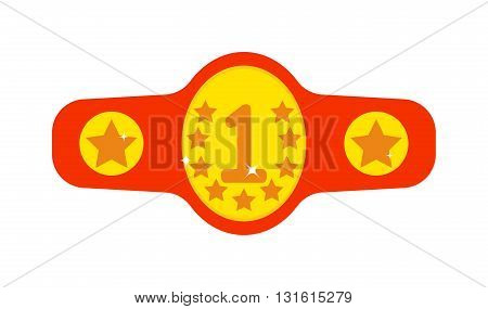 Illustration box champions belt. Vector winner belt and winner belt fight competition sport. Athletic championship winner belt and winner belt boxer equipment concept gold award. Protection belt.