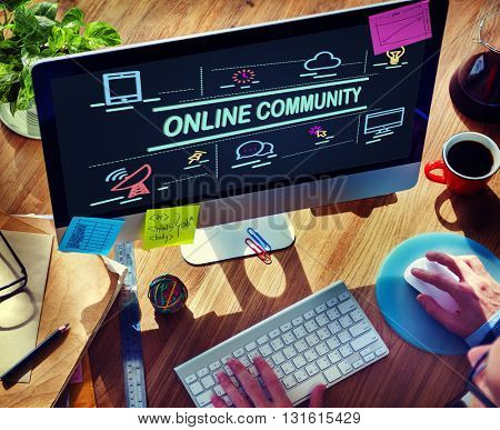 Online Community Connection Sharing Social Concept