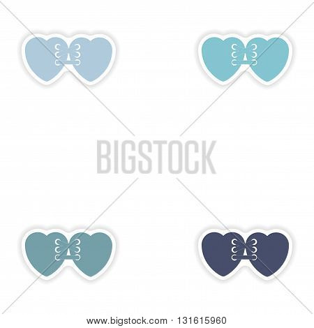 Set of paper stickers on white background  related heart