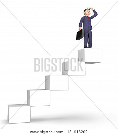Success Stairs Means Achievement Succeed And Attainment 3D Rendering