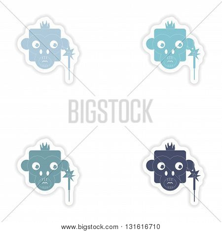 Set of paper stickers on white background  monkey sparkler