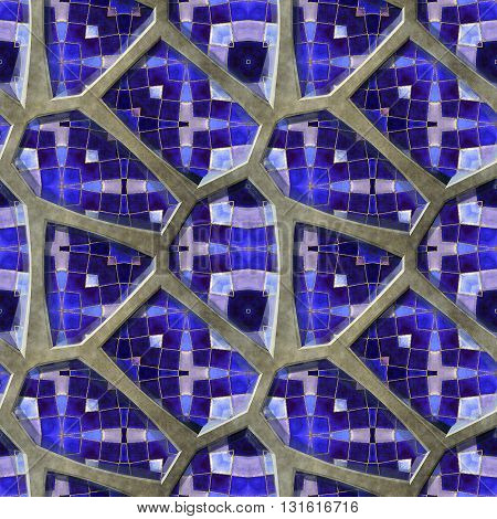 Abstract seamless pavement pattern of 3d blue stones with mosaic. Dark  and light blue mosaic background of sharp stones on a gray background