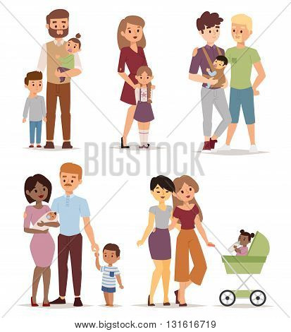 Different gay family, different kind of families. Different family special needs children and different family blended couple. Different family lifestyle baby husband kid and friendship parents set.