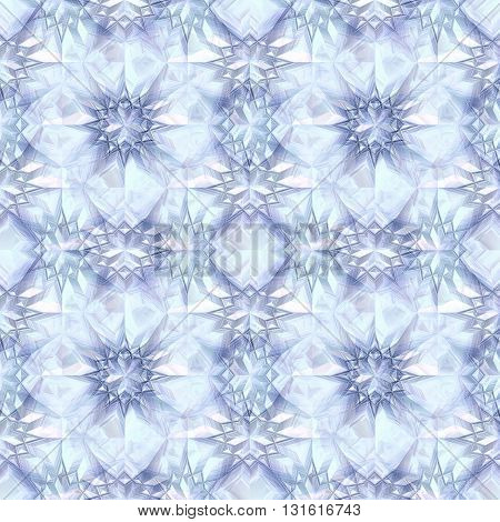 Abstract seamless winter pattern of frozen crystals resembling ice stars. Blue and white background with snowflakes and ice stars