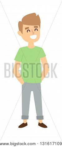 Attractive young boy stands. Fashion small school boy stands and youth cheerful fun boy stands. Vector character boy stands and lifestyle one beautiful stand adorable boy stands teen.