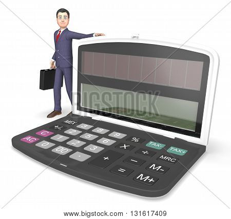 Calculator Businessman Indicates Entrepreneur Earnings And Figures 3D Rendering
