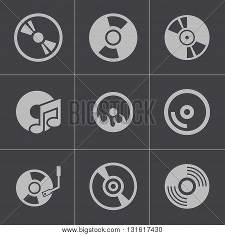 Vector black CD disk icons set on grey background