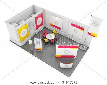 Blank creative exhibition stand design with color shapes. Booth template. Corporate marks and corporate identity. 3D rendering