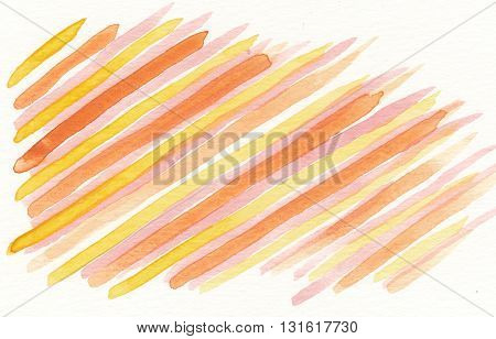 hand drawn linear pattern orange yellow watercolor abstract background