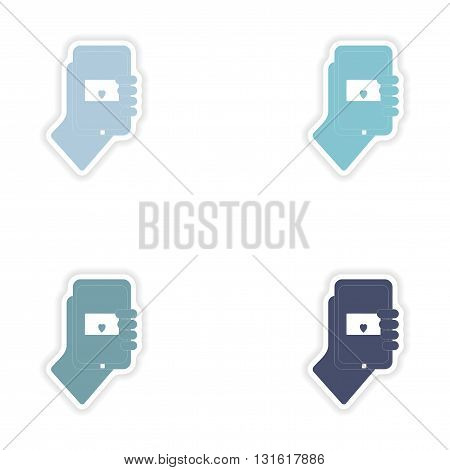 Set of paper stickers on white background  romantic sms