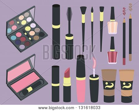 set of cosmetics icons in flat style