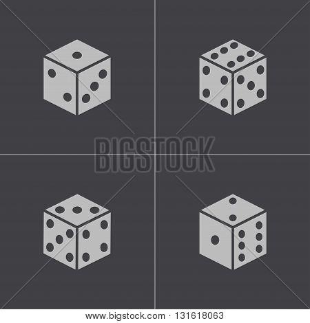 Vector black castle icons set on grey background