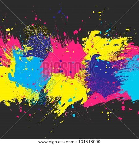 Vector dark watercolor background. Colorful abstract texture. Design elements. Painterly illustration. Vector watercolor splash.