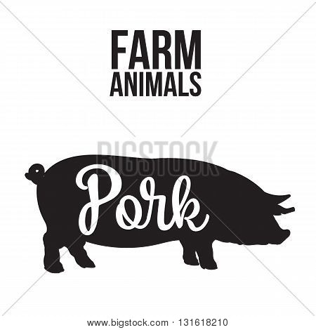 Black contour farm animal with a white inscription inside, Logo pig animal, outline for the product, illustration contour farming pig with lettering on the pork meat