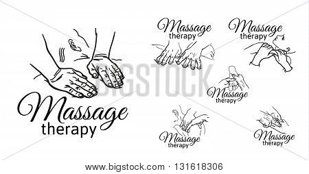 Varieties of massage hands, logos set of types of massages sketch, black and white outline illustration of relaxation therapy, body kneading, face, back, legs, arms.