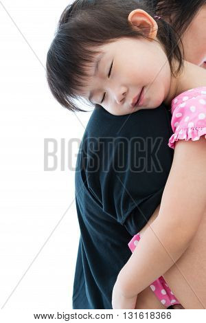 Lovely Asian Girl Sleeping On Mom's Shoulder, Happy Family Concept. Mothers Day Celebration.